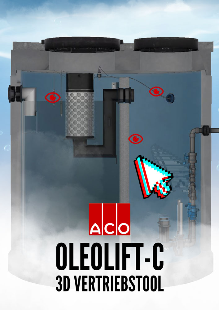 Content Produktion Aco Oleolift Fettabscheider Film Anwendung 3D Poster Plakat